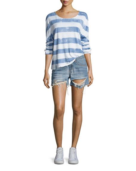 Distressed Boyfriend Shorts, Rye