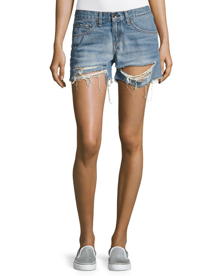 rag & bone/JEAN Distressed Boyfriend Shorts, Rye