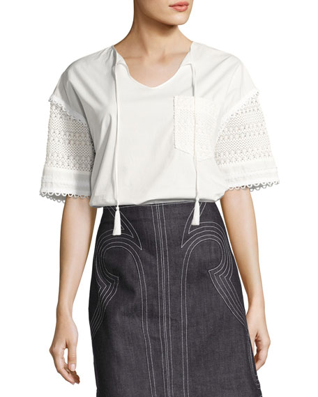 Short-Sleeve Poplin & Crochet Top, White