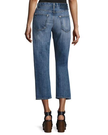 Marilyn High-Rise Cropped Straight-Leg Jeans, Wheeler