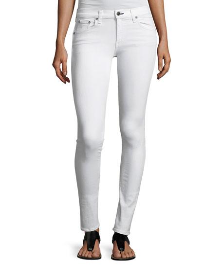 Mid-Rise Skinny-Leg Denim Jeans, White