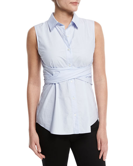 Sleeveless Twist-Front Poplin Blouse, Sky