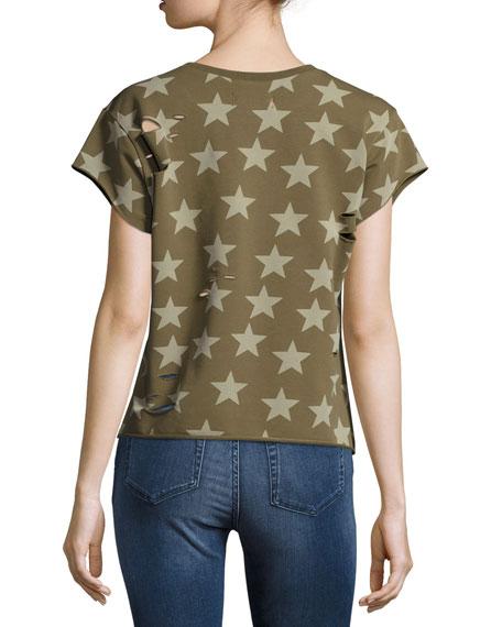 Star Distressed Pullover Sweatshirt, Green