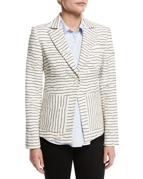 Derek Lam 10 Crosby Striped Textured Single-Button Blazer,