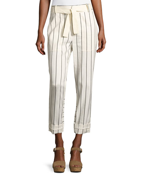 Derek Lam 10 Crosby Belted Striped Utility Pants,