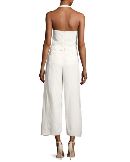 Tie-Front Overlap Halter Jumpsuit, White