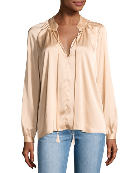 Derek Lam 10 Crosby Nehru Long-Sleeve Satin Blouse,