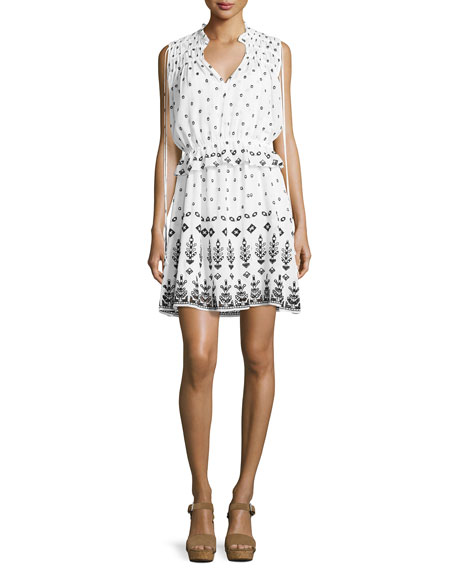 Derek Lam 10 Crosby Sleeveless Embroidered 2-in-1 Poplin