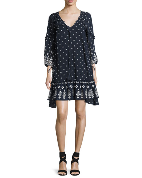 Derek Lam 10 Crosby Bell-Sleeve Embroidered Ruffle Dress,