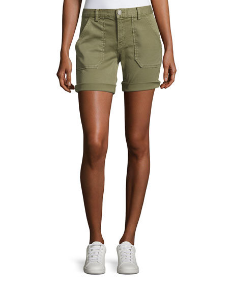 Etienne Marcel Mid-Rise Cuffed Shorts, Green