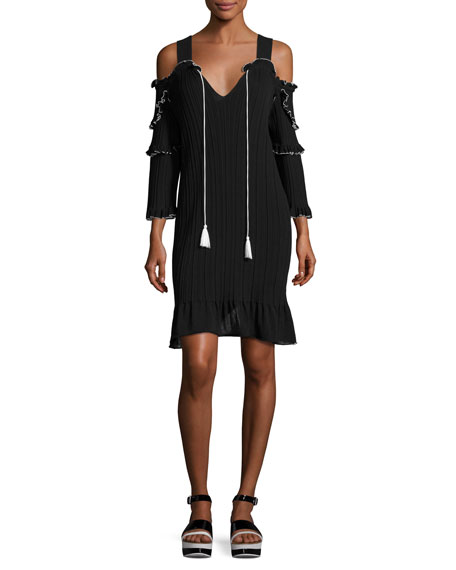 Plissé Cold-Shoulder Mini Dress, Black/White