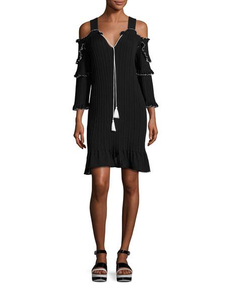 Derek Lam 10 Crosby Plissé Cold-Shoulder Mini Dress,