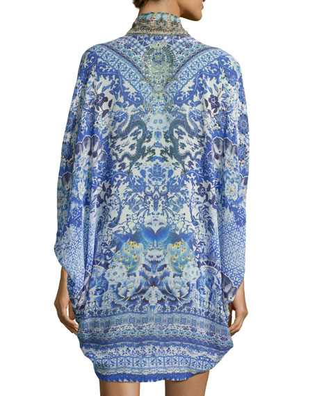 Open-Front Embellished Silk Cardigan/Cape Coverup, Guardian Of Secrets