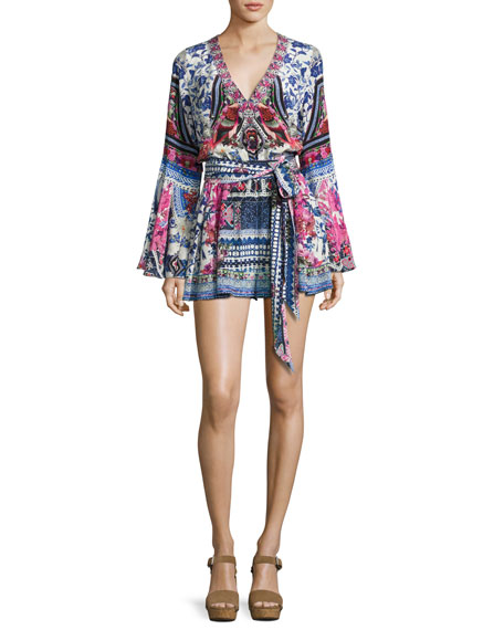 Camilla Belted V-Neck Bell-Sleeve Silk Playsuit, From Kaili