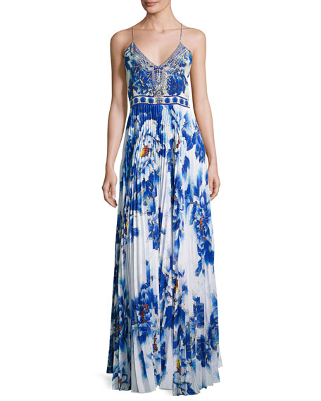 Embellished Pleat-Skirt Slip Maxi Dress, Ring of Roses