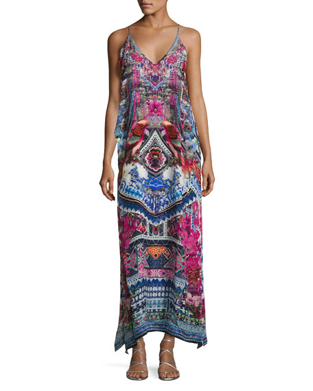Embellished Silk V-Neck Layered Maxi Dress, From Kaili with Love
