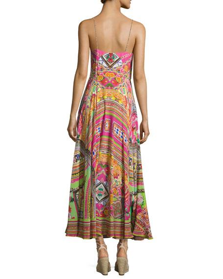 Camilla Embellished Tie-Front A-Line Maxi Dress Hani Honey