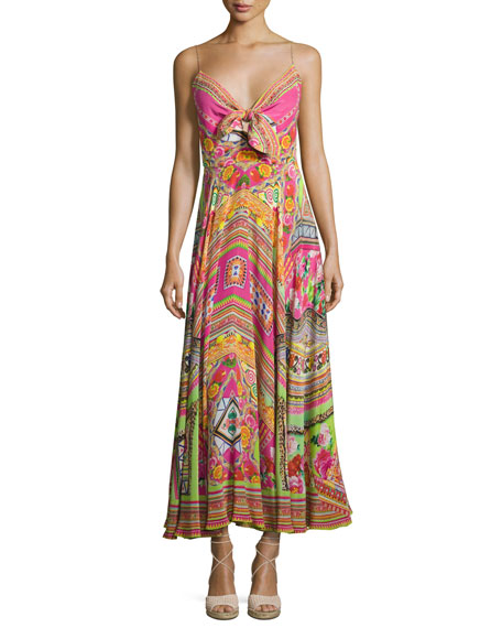 Camilla Embellished Tie-Front A-Line Maxi Dress, Hani Honey