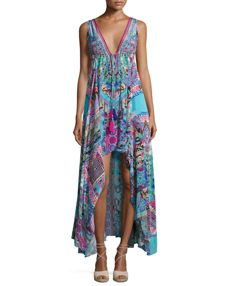 Camilla Embellished Crepe V-Neck Drawstring Maxi Dress, Festival