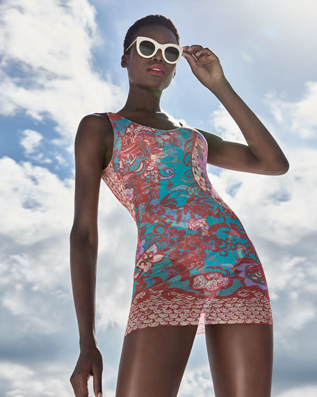 Floral Paisley One-Piece Swimdress with Tulle Overlay, Pink