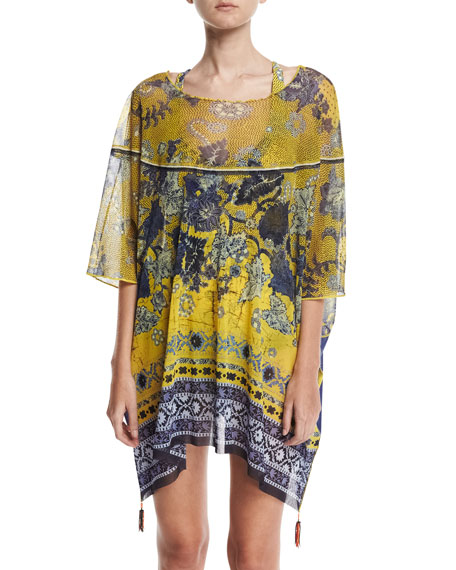 Fuzzi Antique Floral Tulle Caftan Coverup with Tassels,