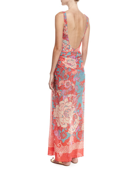 Paisley Floral Tulle Pareo Coverup, Pink