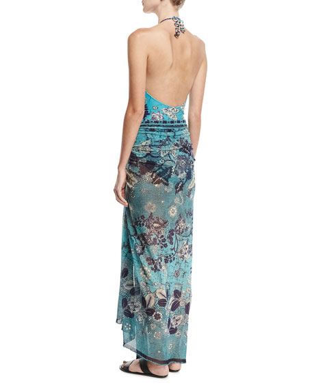Floral-Print Pareo W/ Tassel Beads