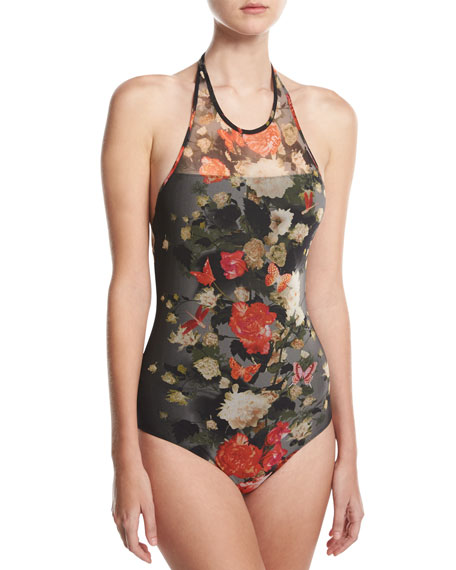 Floral Illusion Tulle High-Neck Halter One-Piece Swimsuit, Black