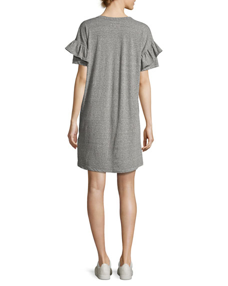 The Ruffle Roadie T-Shirt Dress, Gray/Red