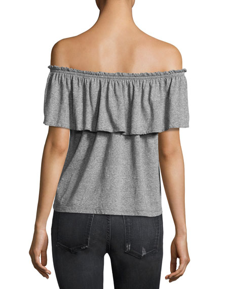 The Off-the-Shoulder Ruffle Top, Gray