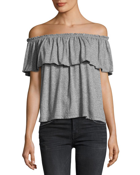 Current/Elliott The Off-the-Shoulder Ruffle Top, Gray