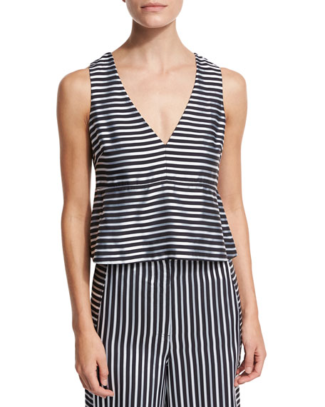 Elizabeth and James Joanna Sleeveless Striped Satin Peplum