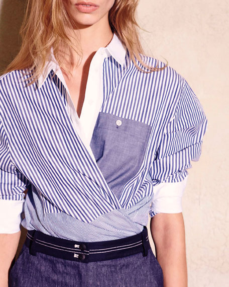 Keating Long-Sleeve Striped Poplin Blouse, Multicolor