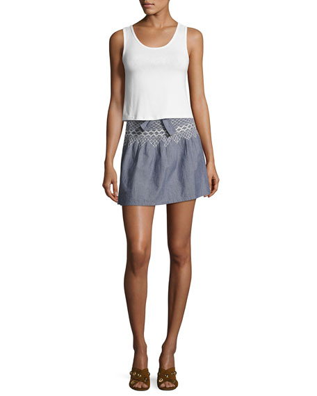 The Short Rancher Chambray Skirt, Indigo
