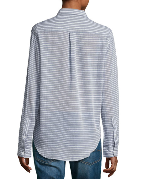 The Boyfriend Shirt, Stripe Chambray (Indigo)