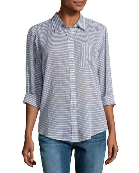 Current/Elliott The Boyfriend Shirt, Stripe Chambray (Indigo)
