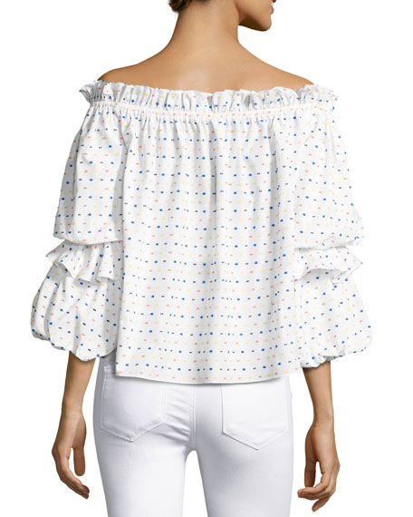 Image 2 of 2: Gia Off-the-Shoulder Swiss Dot Top, White