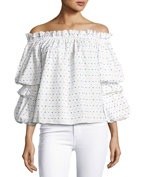Image 1 of 2: Gia Off-the-Shoulder Swiss Dot Top, White