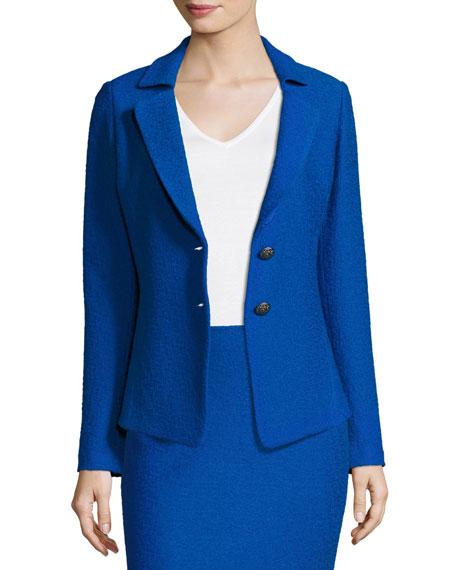 Clair Knit Peplum-Back Jacket, Blue