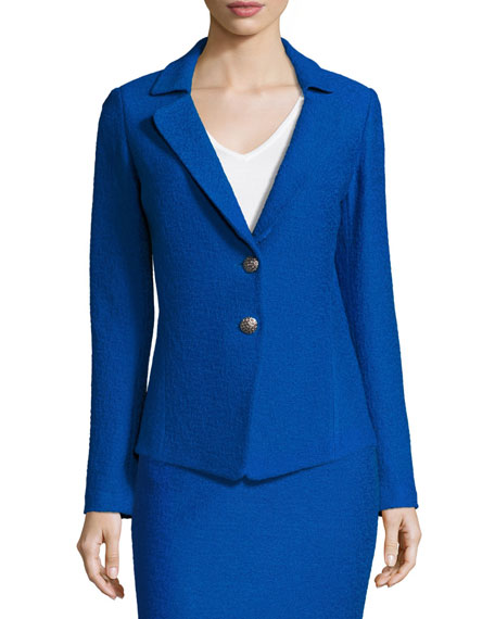 St. John Collection Clair Knit Peplum-Back Jacket, Blue
