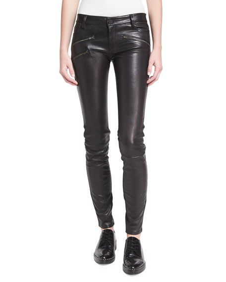 EM1801 Mid-Rise Leather Skinny W/ Zip Detail
