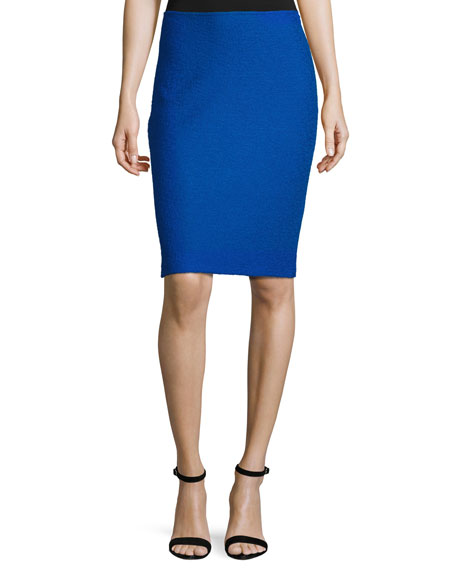 St. John Collection Clair Knit Pencil Skirt, Blue