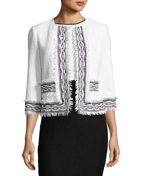 Clair Knit 3/4-Sleeve Fringe-Trim Jacket, White/Black