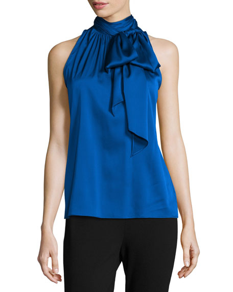 Charmeuse Halter Necktie Top, Royal Blue