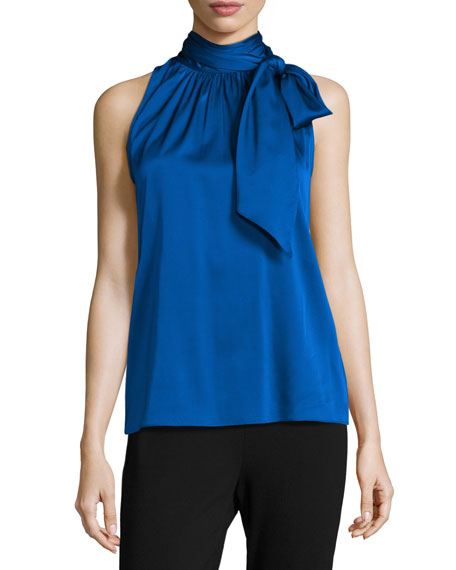 St. John Collection Charmeuse Halter Necktie Top, Royal