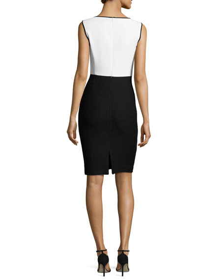 Clair Colorblock Knit Jewel-Neck Dress, White/Black