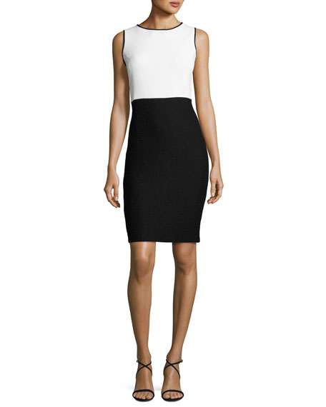 St. John Collection Clair Colorblock Knit Jewel-Neck Dress,