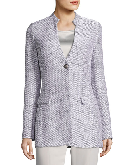 Gyan Knit V-Neck Jacket, White/Gray