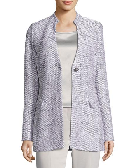 Gyan Knit V-Neck Jacket, White/Gray