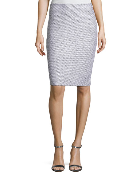 Gyan Knit Pencil Skirt, White/Gray